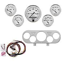7044-OTW Gauge Set - Mechanical, Speedometer; Oil Pressure Gauge; Water Temperature Gauge; Voltage Gauge; Fuel Level Gauge, Direct Fit, Set of 5