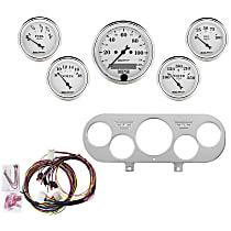 Autometer 7044-OTW Gauge Set - Mechanical, Speedometer; Oil Pressure Gauge; Water Temperature Gauge; Voltage Gauge; Fuel Level Gauge, Direct Fit, Set of 5