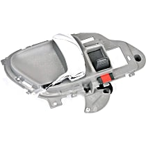 Front or Rear, Driver Side Interior Door Handle, Gray bezel with chrome lever