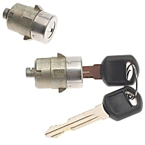 D1480G Door Lock Cylinder - Chrome, Direct Fit, Set of 2