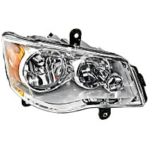 Passenger Side Halogen Headlight, With bulb(s) - Clear Lens, Chrome Interior
