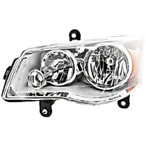 Driver Side Halogen Headlight, With bulb(s) - Clear Lens, Chrome Interior