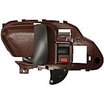 Interior Door Handle - Front, Driver Side, Red Bezel with Black Lever
