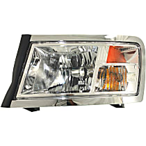 Driver Side Headlight, With bulb(s) - Clear Lens, Chrome Interior