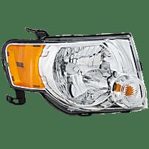 Passenger Side Headlight, With bulb(s) - Clear Lens, Chrome Interior
