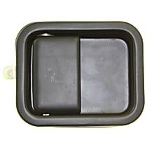 Front, Passenger Side, Exterior Door Handle, Smooth Black, Full Door Type, Metal, w/o Keyhole