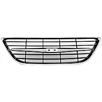 Grille Assembly - Chrome Shell with Painted Black Insert, Center