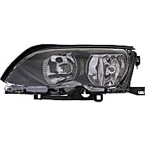 Headlight - Driver Side, For Sedan or Wagon, Black Trim, With Bulb(s)