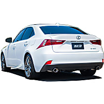 11898 S-Type Axle-Back Exhaust System, 2.25 in. Piping Diameter, Stainless Steel, Split Rear, 4.25 in. x 3.5 in. Oval Rolled Angle-Cut Polished Tips