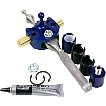 B&M Precision Sport Short Shifter Shifter - Stainless steel and blue anodized aluminum, Stainless Steel and Billet Aluminum, Manual, Direct Fit, Kit