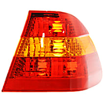 Passenger Side, Outer Tail Light, Without bulb(s) - Amber & Red Lens, Sedan