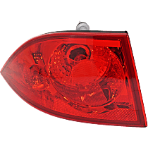 Driver Side, Outer Tail Light, With bulb(s) - Red Lens
