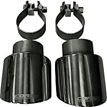 Corsa 14833BLK Exhaust Tip - Black, Stainless Steel, Dual, Direct Fit, Set of 2