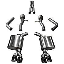 Corsa Sport 14987BLK Exhaust System, 2.75 in., Cat-Back, Stainless Steel, Quad Split Rear, 3.5 in. Black Chrome Tips