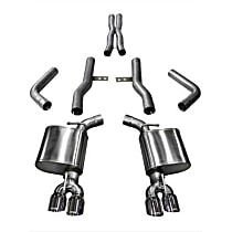 Corsa Xtreme 14989 Exhaust System, 2.75 in., Cat-Back, Stainless Steel, Quad Split Rear, 3.5 in. Polished Tips
