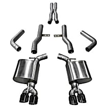 Corsa Xtreme 14989BLK Exhaust System, 2.75 in., Cat-Back, Stainless Steel, Quad Split Rear, 3.5 in. Black Chrome Tips