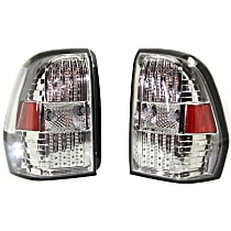 Driver and Passenger Side Tail Light, With bulb(s) - Clear Lens, Chrome Interior