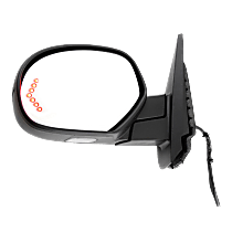 Mirror - Driver Side, Power, Heated, Power Folding, With Paintable and Textured Black Caps, With Turn Signal and Puddle Lamp