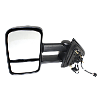 Mirror - Driver Side, Towing, Power, Heated, Folding, Textured Black, With Blind Spot Glass, Trailer Tow Type