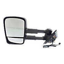 Mirror - Driver Side, Towing, Power, Heated, Folding, Textured Black, With Blind Spot Glass, Telescopic Dual Glass