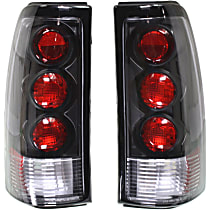 Driver and Passenger Side Tail Light, Without bulb(s) - Clear Lens, Black Interior, w/3 Red Dots