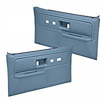 18-34F-LBL Door Trim Panel - Blue, ABS Plastic, Direct Fit, Set of 2