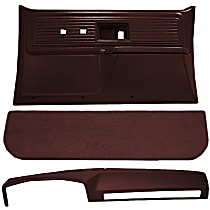 Interior Restoration Kit - Maroon, ABS Plastic, Dash Cap, Door Panel, Kick Panel, Direct Fit, Kit