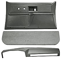 Interior Restoration Kit - Gray, ABS Plastic, Dash Cap, Door Panel, Kick Panel, Direct Fit, Kit