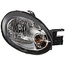 Passenger Side Headlight, With bulb(s) - Clear Lens, Black Interior