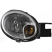Passenger Side Headlight, With bulb(s) - Clear Lens, Chrome Interior