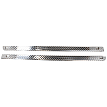 Bed Rail Cap - Polished diamond plate, Aluminum, Wrap, Direct Fit, Set of 2