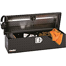 Truck Tool Box - Powdercoated Black Diamond Plate, Aluminum, ATV Storage Chest, Direct Fit, Sold individually