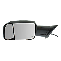 Mirror - Driver Side, Towing, Power, Heated, Power Folding, Black, w/ Turn Signal, Blind Spot Glass, Puddle Lamp, w/ Temperature Sensor