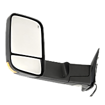 Mirror - Driver Side, Towing, Power, Heated, Folding, Textured Black, With Turn Signal, Blind Spot Glass and Puddle Lamp