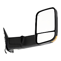 Mirror - Passenger Side, Towing, Power, Heated, Folding, Textured Black, With Turn Signal, Blind Spot Glass and Puddle Lamp