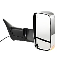 Towing Mirror Manual Folding Heated - Passenger Side, Power Glass, In-housing Signal Light, With Blind Spot Corner Glass, Chrome