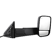 Towing Mirror Manual Folding Heated - Passenger Side, Power Glass, In-housing Signal Light, With Blind Spot Corner Glass, Textured Black