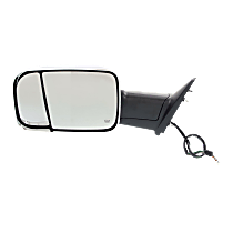 Towing Mirror Manual Folding Heated - Driver Side, Power Glass, In-housing Signal Light, With Blind Spot Corner Glass, Chrome