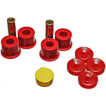 16.8111R Shock Bushing - Red, Polyurethane, 2-Piece, Direct Fit, Set of 4