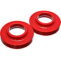 2.6101R Coil Spring Insulator - Red, Polyurethane, Direct Fit, Set of 2
