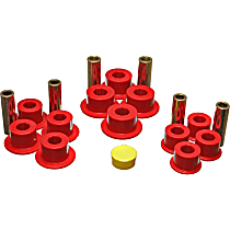 Leaf Spring Bushing - Red, Polyurethane, Direct Fit, 2-spring-and-shackle set