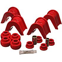 4.7105R Suspension Bushing, Polyurethane, Red, Direct Fit, Set of 14