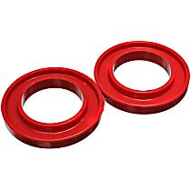 9.6107R Coil Spring Insulator - Red, Polyurethane, Universal, Set of 2