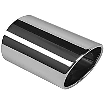EE9850 Exhaust Tip - Natural, Stainless Steel, Single, Direct Fit, Sold individually