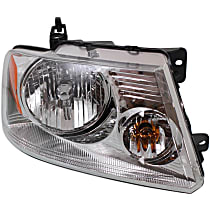 Passenger Side Headlight, With bulb(s) - Chrome Bezel