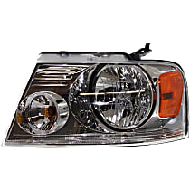 Driver Side Headlight, With bulb(s) - Chrome Bezel