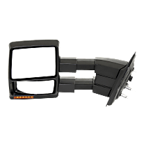 Mirror - Driver Side, Towing, Power, Heated, Folding, Black, With Turn Signal, Memory, Blind Spot Glass and Puddle Lamp, Telescopic