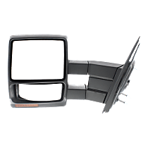 Mirror - Driver Side, Towing, Power, Heated, Folding, Textured Black, With Turn Signal, Blind Spot Glass and Puddle Lamp, Telescopic