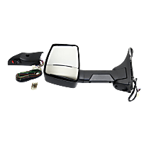 Mirror - Driver Side, Towing, Power, Heated, Folding, Textured Black, With Blind Spot Glass, Single Arm