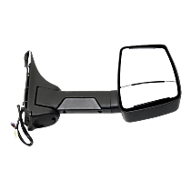 Mirror - Passenger Side, Towing, Power, Heated, Folding, Textured Black, With Blind Spot Glass, Single Arm